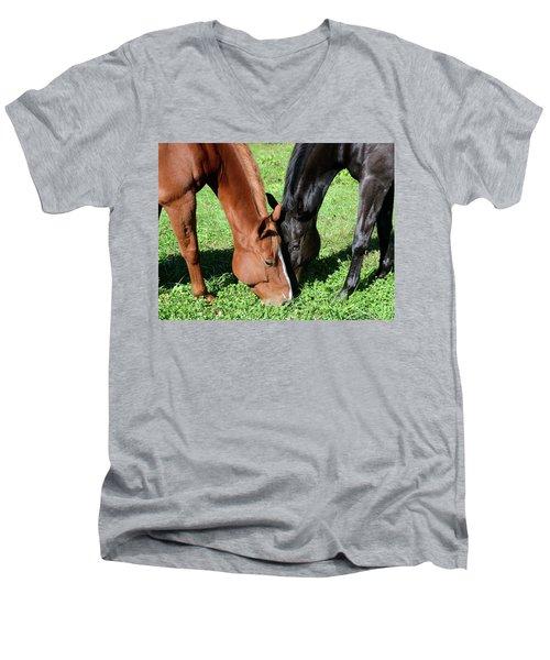 Friends Forever Men's V-Neck T-Shirt by Julia Wilcox