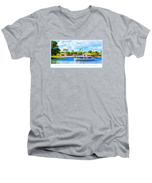 Friendship Boat On The Lagoon Epcot Walt Disney World Men's V-Neck T-Shirt