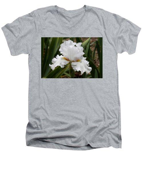 Frilly White Iris Flower Men's V-Neck T-Shirt