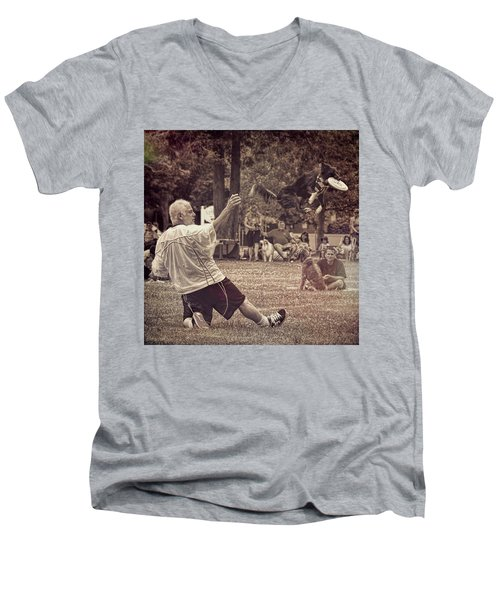 Men's V-Neck T-Shirt featuring the photograph Frisbee Catcher by Lewis Mann