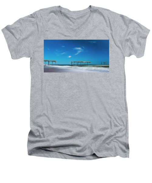 Frisco Fishing Pier In North Carolina Panorama Men's V-Neck T-Shirt