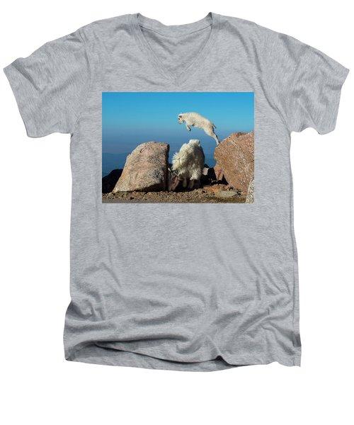 Leaping Baby Mountain Goat Men's V-Neck T-Shirt