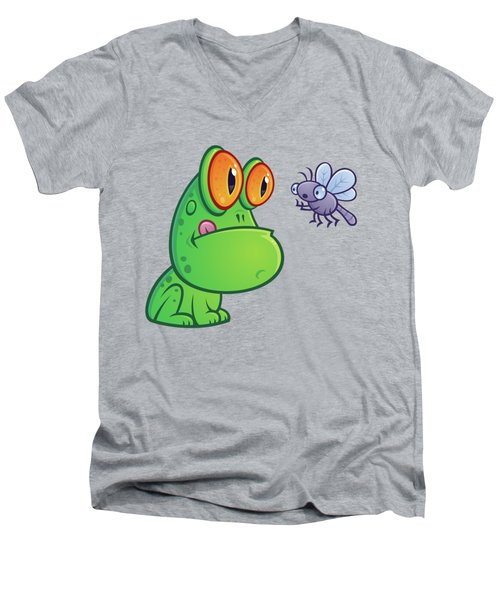 Frog And Dragonfly Men's V-Neck T-Shirt by John Schwegel