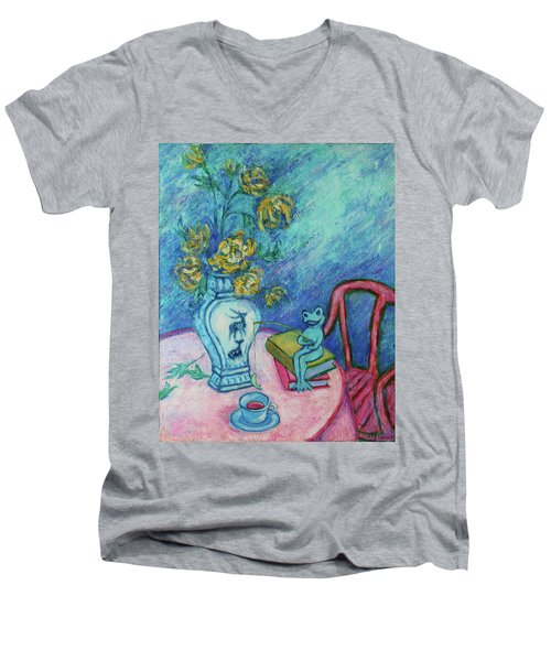 Men's V-Neck T-Shirt featuring the painting Frog Fishing Under Chrysanthemums by Xueling Zou