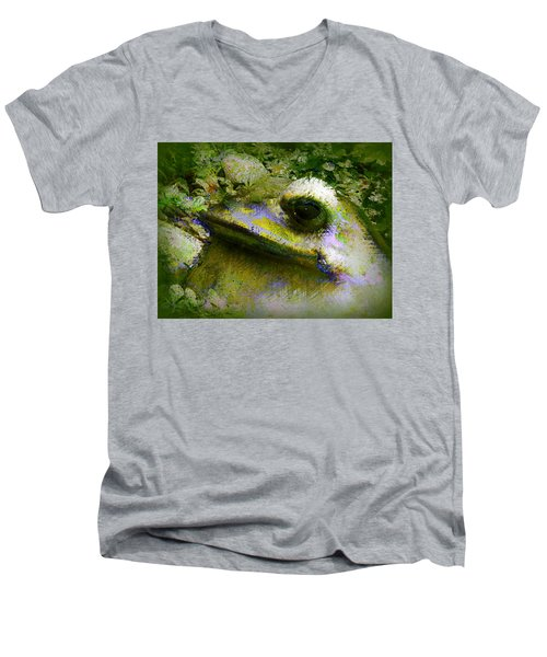 Men's V-Neck T-Shirt featuring the photograph Frog In The Pond by Lori Seaman