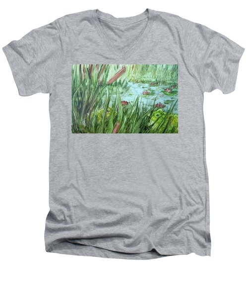 Frog Went A-courtin Men's V-Neck T-Shirt