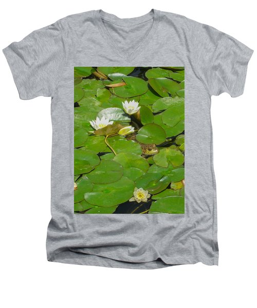 Frog With Water Lilies Men's V-Neck T-Shirt by Mark Barclay