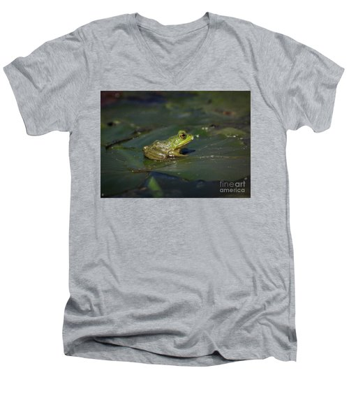Men's V-Neck T-Shirt featuring the photograph Froggy 2 by Douglas Stucky