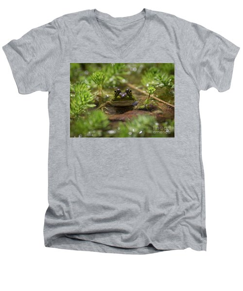 Men's V-Neck T-Shirt featuring the photograph Froggy by Douglas Stucky