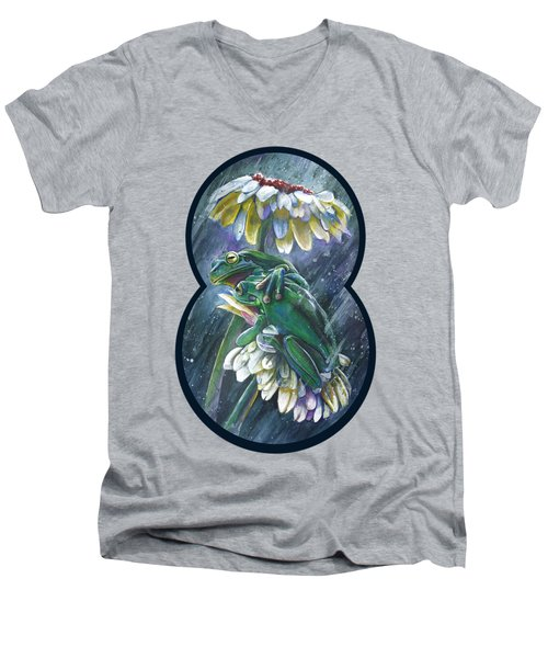 Frogs- Optimized For Shirts And Bags Men's V-Neck T-Shirt by Michael Volpicelli