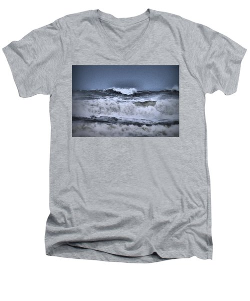 Men's V-Neck T-Shirt featuring the photograph Frolicsome Waves by Jeff Swan
