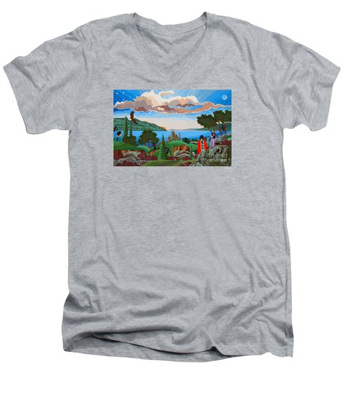 Men's V-Neck T-Shirt featuring the painting From A High Place, Troubles Remain Small by Chholing Taha
