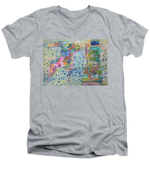 Men's V-Neck T-Shirt featuring the painting From The Altered City by Fabrizio Cassetta