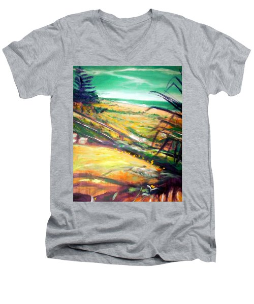 Men's V-Neck T-Shirt featuring the painting From The Lawn Pandanus by Winsome Gunning