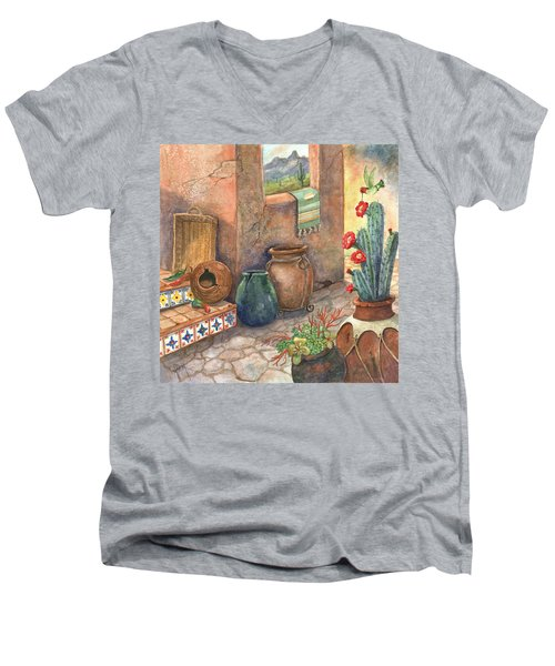 Men's V-Neck T-Shirt featuring the painting From This Earth by Marilyn Smith