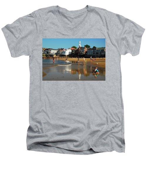 Front Beach Men's V-Neck T-Shirt by James Kirkikis