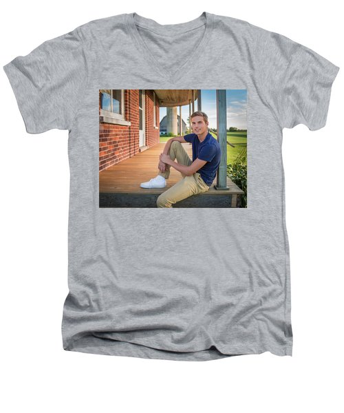 Men's V-Neck T-Shirt featuring the photograph Front Porch Portrait by Bill Pevlor