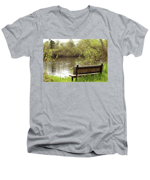 Men's V-Neck T-Shirt featuring the photograph Front Row Seat by Art Block Collections