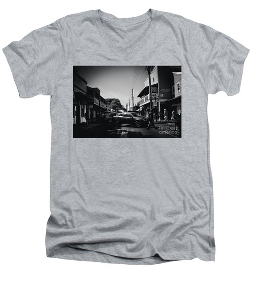 Men's V-Neck T-Shirt featuring the photograph Front Street  by Sharon Mau