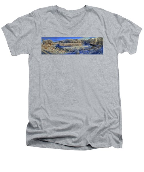 Frost Along The Creek - Panorama Men's V-Neck T-Shirt