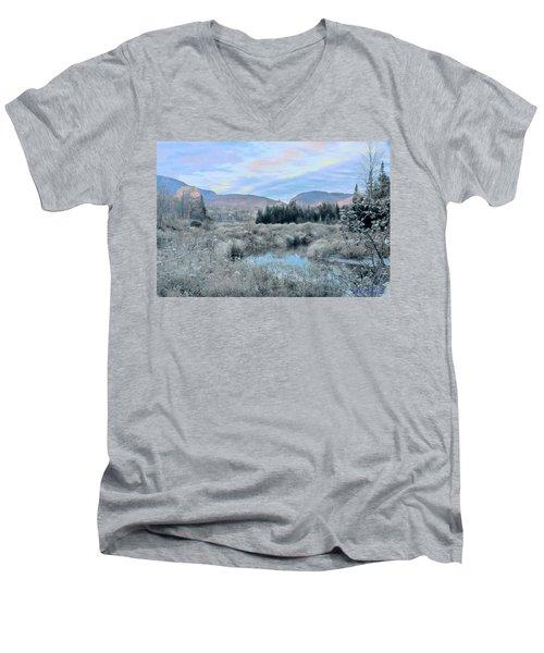 Frost On The Bogs Men's V-Neck T-Shirt by John Selmer Sr