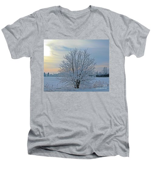 Frosted Sunrise Men's V-Neck T-Shirt by Heather King