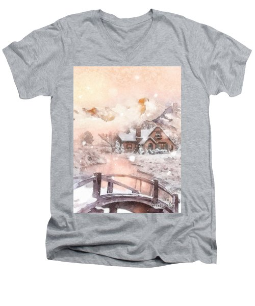 Frosty Creek Men's V-Neck T-Shirt by Mo T