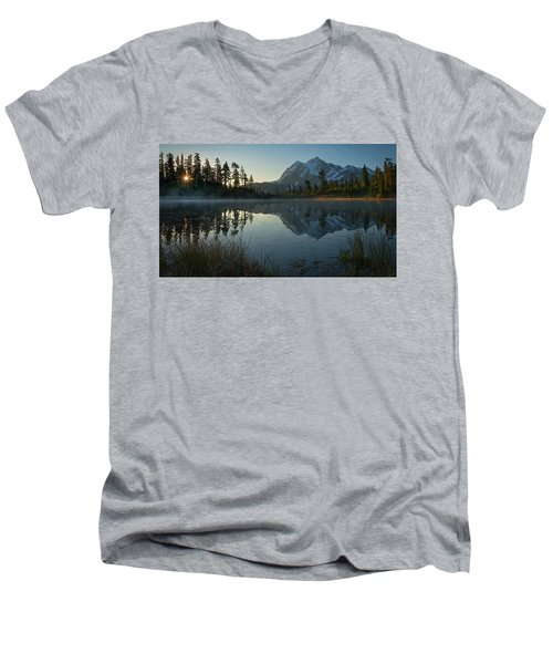 Men's V-Neck T-Shirt featuring the photograph Frosty Picture Lake by Dan Mihai