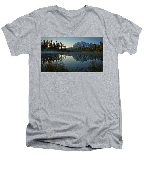 Frosty Picture Lake Men's V-Neck T-Shirt