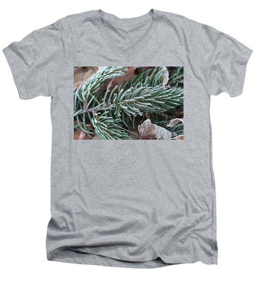 Frosty Pine Branch Men's V-Neck T-Shirt