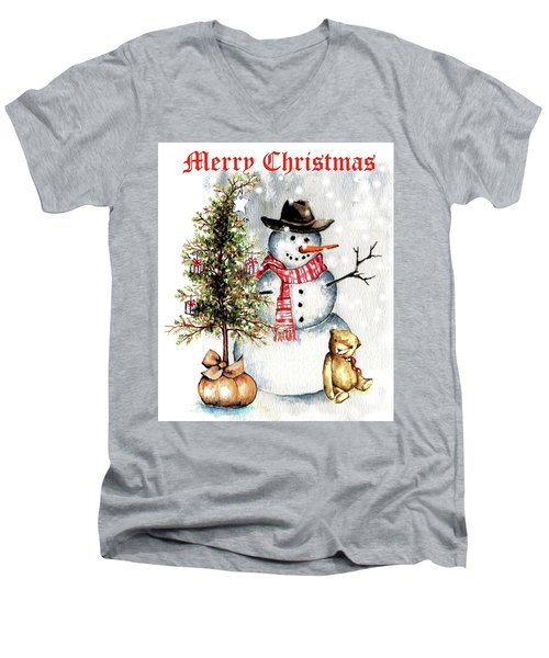 Frosty The Snowman Greeting Card Men's V-Neck T-Shirt by Heidi Kriel