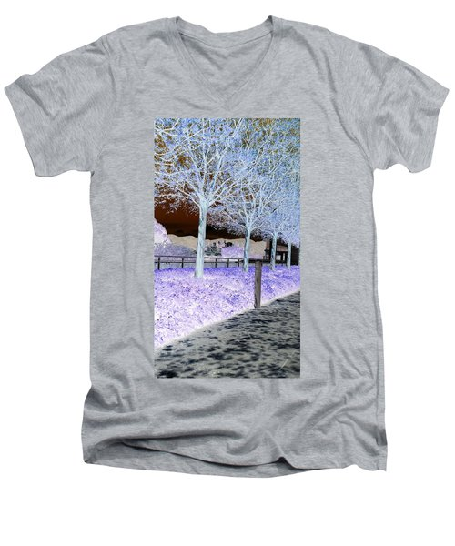 Frosty Trees At The Getty Men's V-Neck T-Shirt