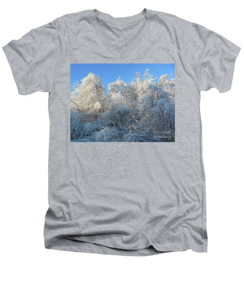 Men's V-Neck T-Shirt featuring the photograph Frosty Trees by Rockin Docks Deluxephotos
