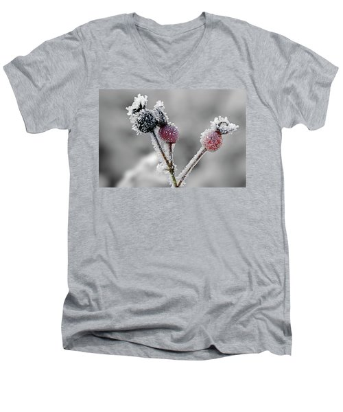 Frozen Buds Men's V-Neck T-Shirt by Inge Riis McDonald