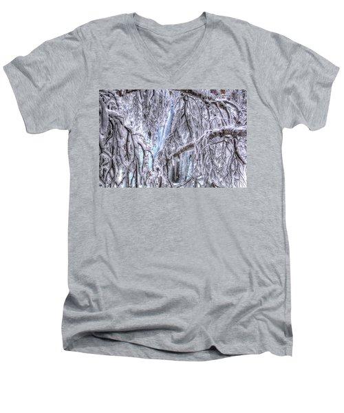 Frozen Falls Men's V-Neck T-Shirt by Fiskr Larsen
