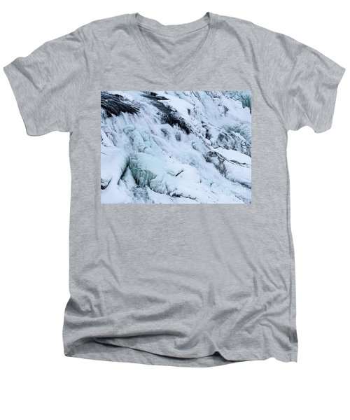 Frozen Gullfoss In Winter Men's V-Neck T-Shirt