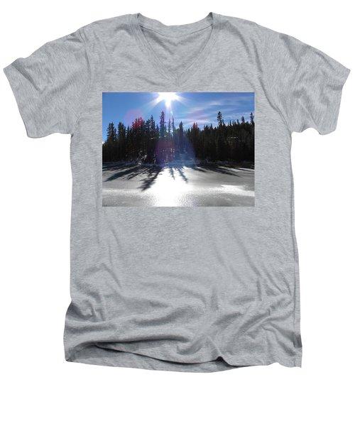 Sun Reflecting Kiddie Pond Divide Co Men's V-Neck T-Shirt