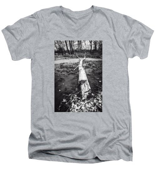 Men's V-Neck T-Shirt featuring the photograph Frozen Landscape by Andy Crawford