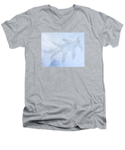 Frozen Oak Leaf Imprint Men's V-Neck T-Shirt by Kathy M Krause