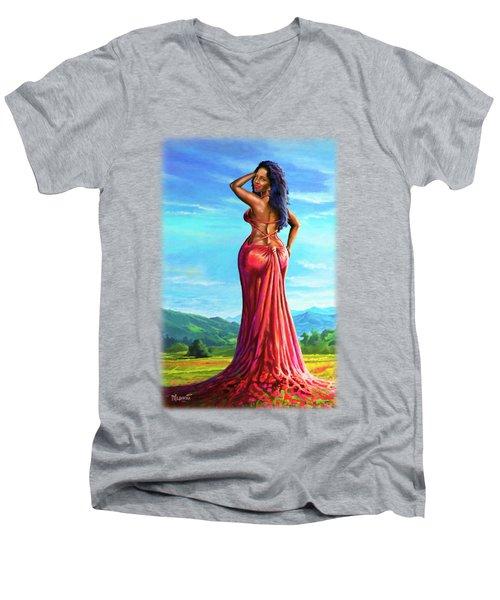 Summer Blossom Men's V-Neck T-Shirt by Anthony Mwangi