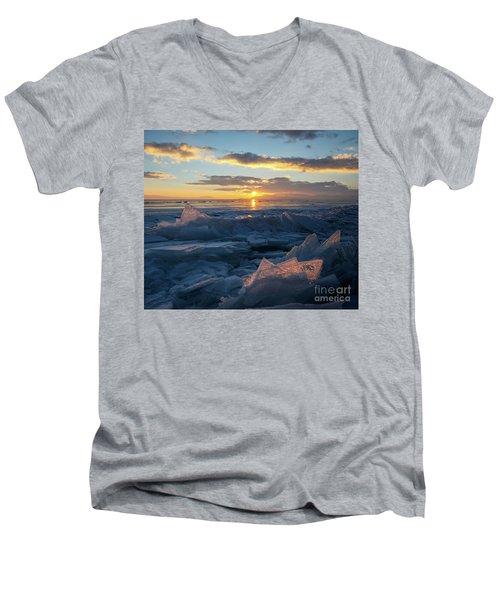 Frozen Sevan Lake And Icicles At Sunset, Armenia Men's V-Neck T-Shirt by Gurgen Bakhshetsyan
