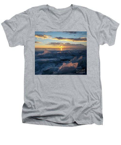 Frozen Sevan Lake And Icicles At Sunset, Armenia Men's V-Neck T-Shirt