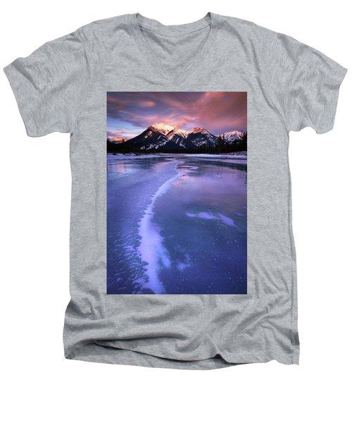 Frozen Sunrise Men's V-Neck T-Shirt by Dan Jurak