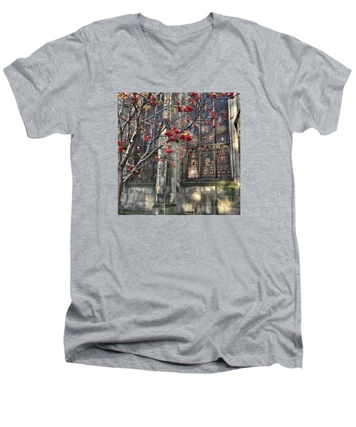 Men's V-Neck T-Shirt featuring the photograph Fruit By The Church by RKAB Works