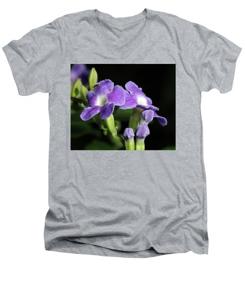 Men's V-Neck T-Shirt featuring the photograph Fruit Fly On Golden Dewdrop by Richard Rizzo