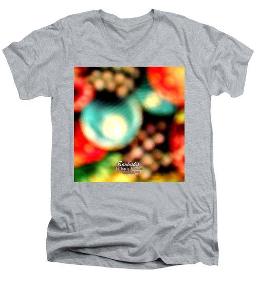 Men's V-Neck T-Shirt featuring the photograph Fruit Sticker by Barbara Tristan