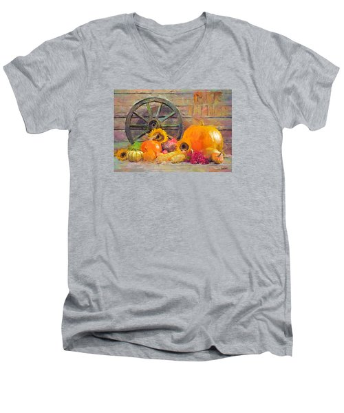 Men's V-Neck T-Shirt featuring the painting Fruits Of Thanks by Wayne Pascall