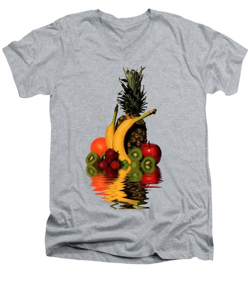 Fruity Reflections - Medium Men's V-Neck T-Shirt by Shane Bechler