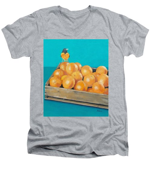 Men's V-Neck T-Shirt featuring the painting Frustrated Oriole by Susan DeLain