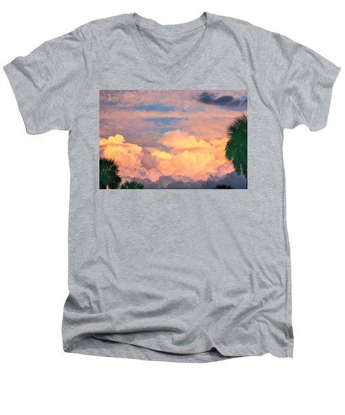 Ft De Soto Sunset Clouds Men's V-Neck T-Shirt